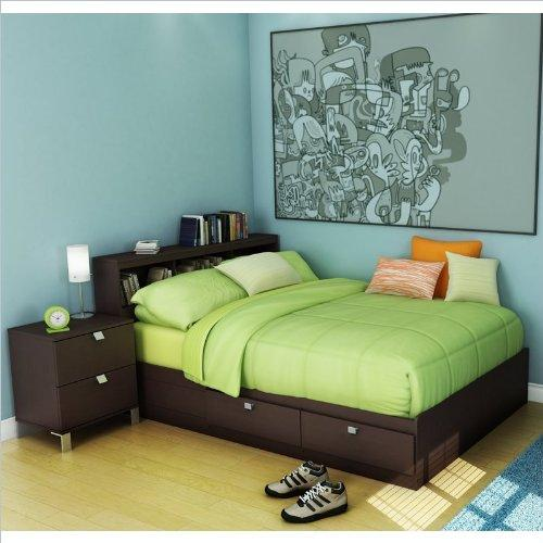 South Shore Kids Full Wood Storage Bed 3 Piece Bedroom Set in Chocolate