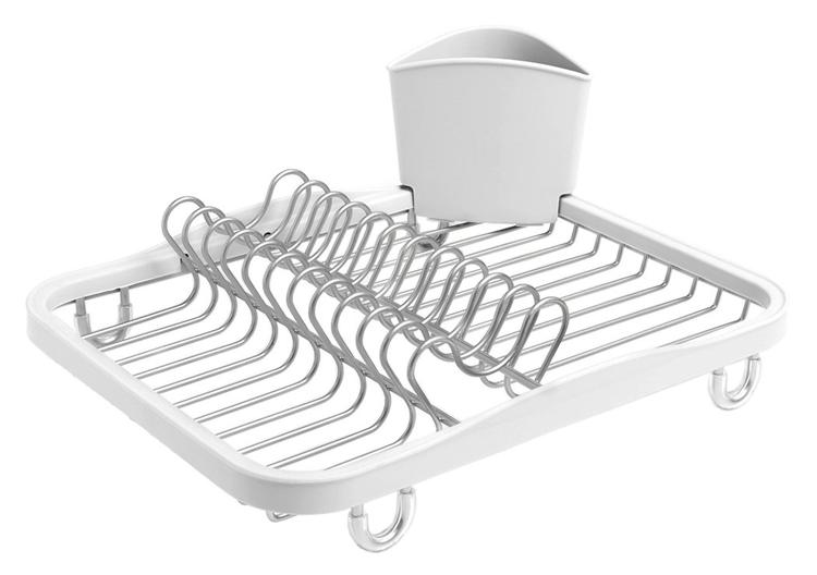 Umbra Sinkin Dish Drying Rack â?? Dish Drainer Kitchen Sink Caddy with Removable Cutlery Holder, Fits In Sink or on Countertop, White