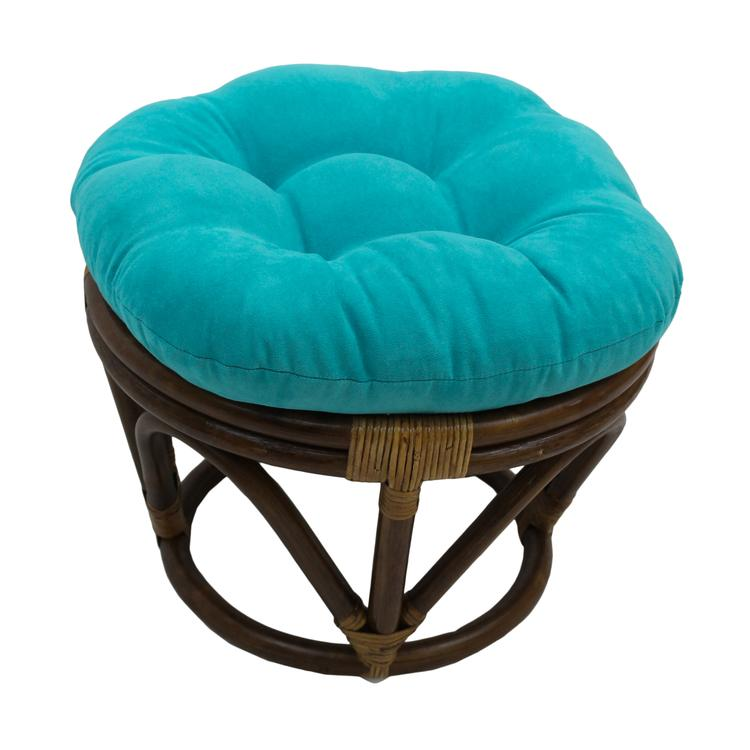 International Caravan Rattan Ottoman With Micro Suede Cushion [Item # 3301-MS-AB]
