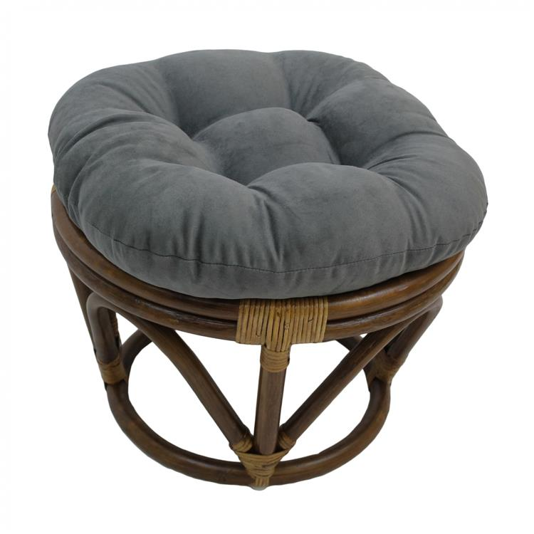 International Caravan Rattan Ottoman With Micro Suede Cushion [Item # 3301-MS-GY]