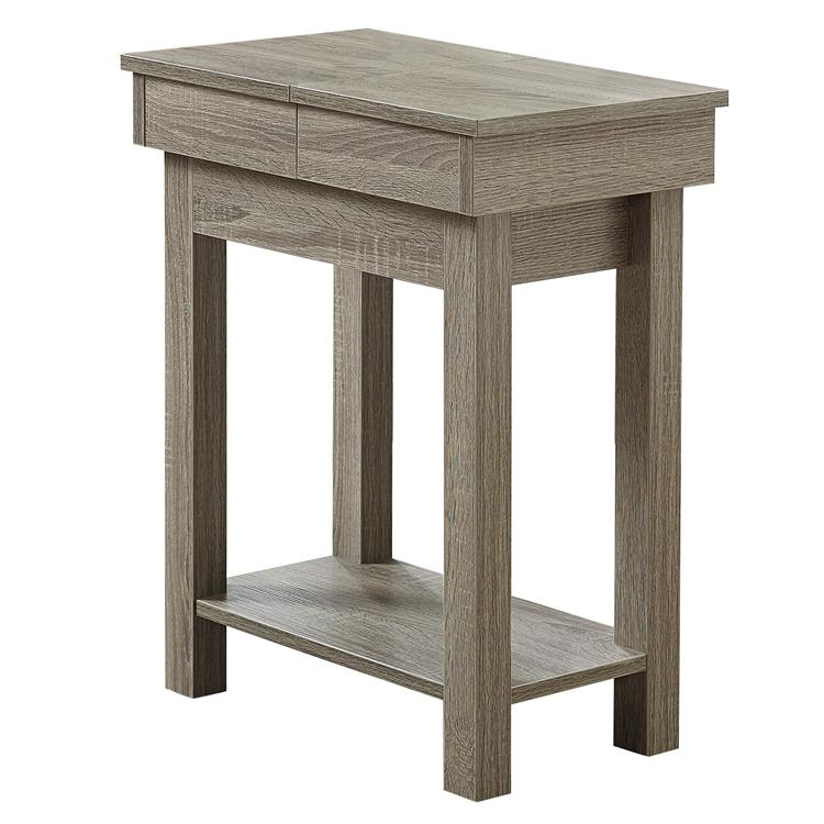 HomeRoots Furniture 20-inch x 11.75-inch x 24-inch Dark Taupe, Particle Board, Hollow-Core, Storage - Accent Table