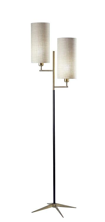Adesso 3474-01 Davis Floor Lamp, Matte Black/Antique Brass