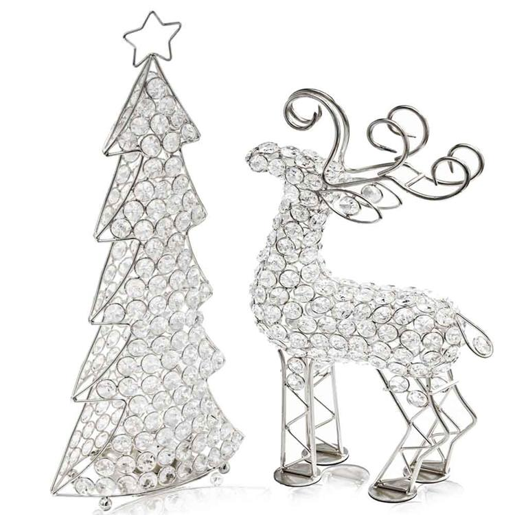 HomeRoots Decor 3.5-inch x 8-inch x 16-inch Silver/Crystal - Christmas Tree