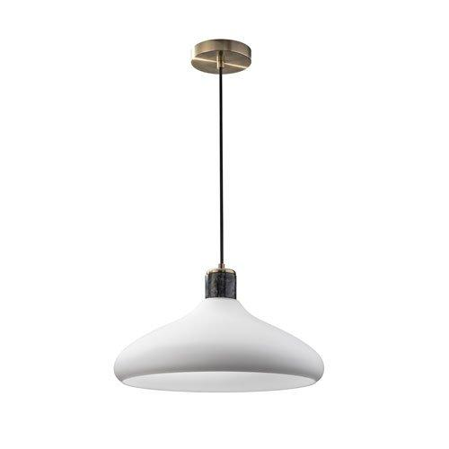 Adesso Astor Hanging Pendant, Frosted Glass Shade/Antique Brass Base