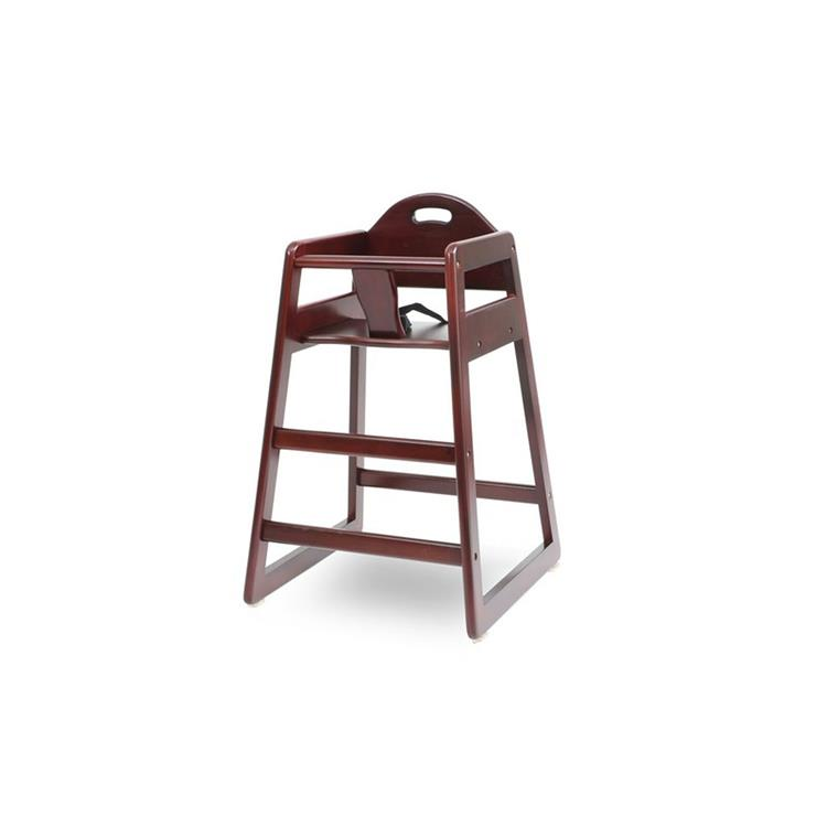 HomeRoots Decor Wooden High Chair for Babies with Safety Belt, Cherry Brown