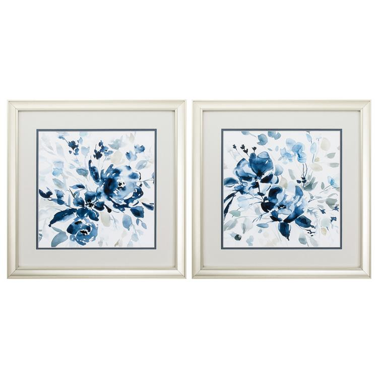 HomeRoots Decor 18-inch X 18-inch Champagne Gold Color Frame Indigo Garden (Set of 2)