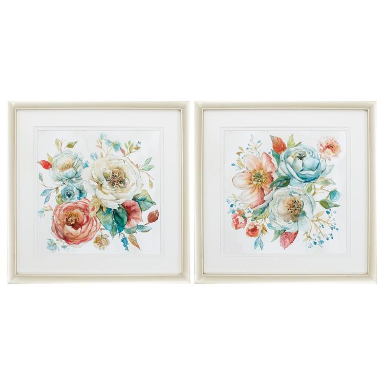 HomeRoots Decor 26-inch X 26-inch Champagne Gold Color Frame Rose Garden (Set of 2)