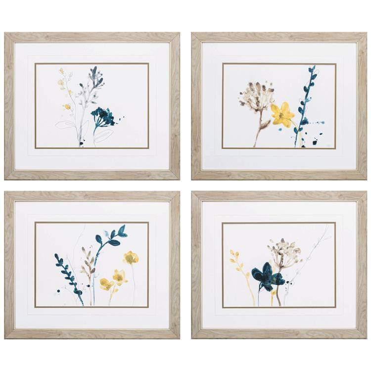 HomeRoots Decor 25-inch X 21-inch Ligth Wood Toned Frame Navy Garden Inspire (Set of 4)