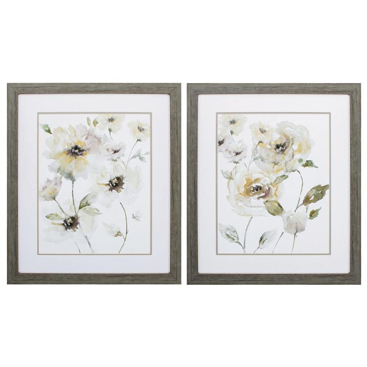 HomeRoots Decor 24-inch X 28-inch Woodtoned Frame Translucent Garden (Set of 2)