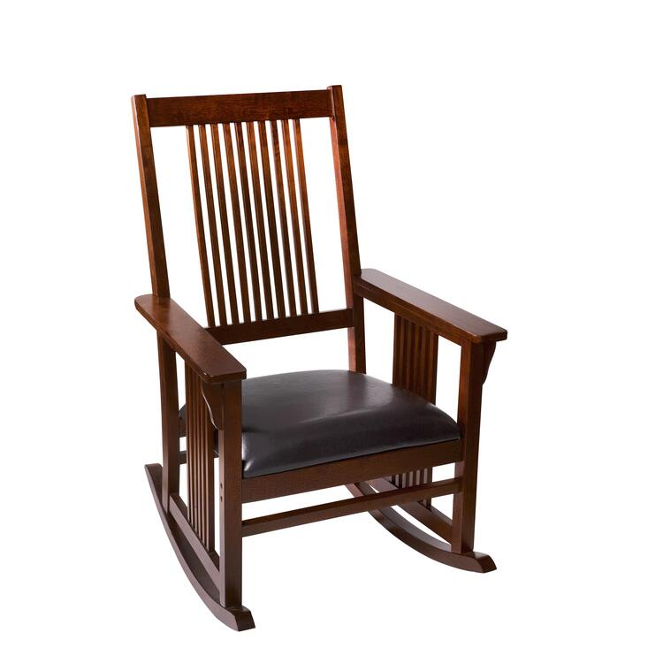 Mission Style Adult Rocking Chair with Upholstered Seat
