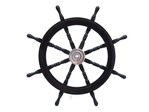 Deluxe Class Wood and Chrome Pirate Ship Steering Wheel 36''