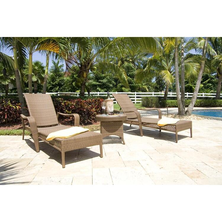 Grenada Patio 3 Piece Chaise Lounge Set, Finish Antique Brown