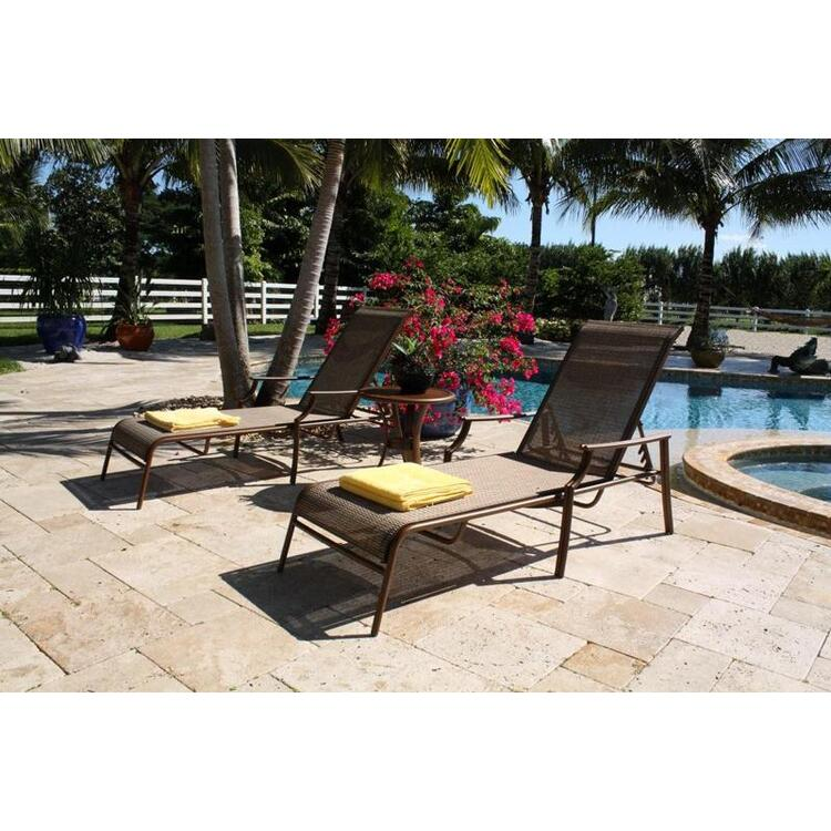 Chub Cay Patio Sling 3 Piece Chaise Lounge and End Table Set