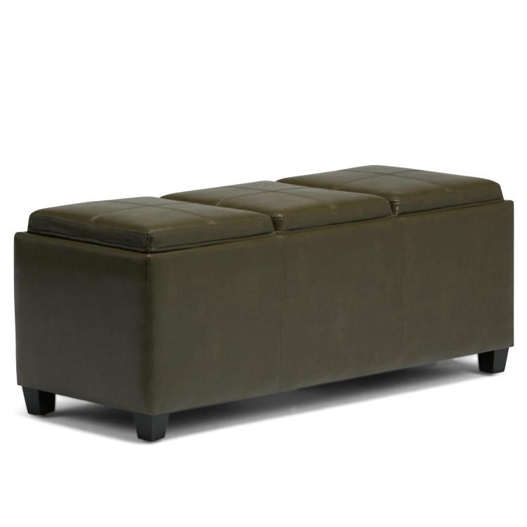 Simpli Home Avalon Storage Ottoman with 3 Serving Trays