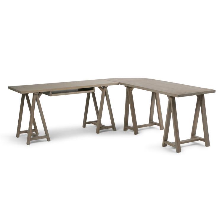 Simpli Home Sawhorse L-Shape Corner Desk