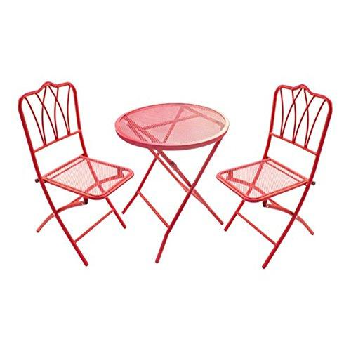 Red wroguht Iron table and chairs chat set