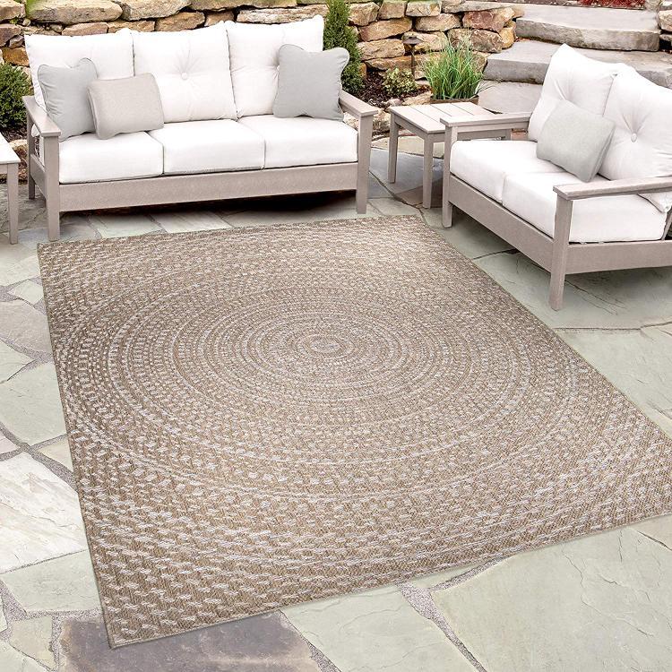 Orian Rugs Indoor/Outdoor Circles Cerulean Gray/ Brown Area Rug (7'7