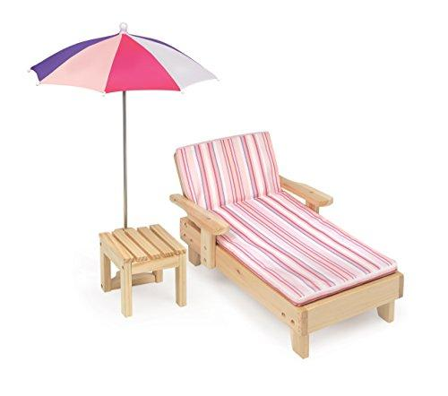 Badger Basket Doll Beach Lounger with Table and Umbrella - Summer Stripes