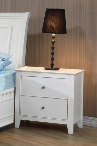 Coaster Selena Contemporary White Two-Drawer Nightstand