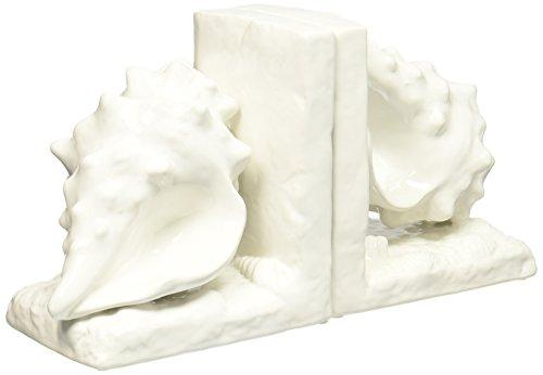 UTC40052 Ceramic Conch Seashell Bookend on Base Gloss Finish White