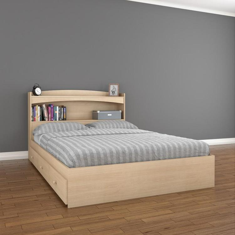 Alegria 3-Drawer Storage Bed with Bookcase Headboard