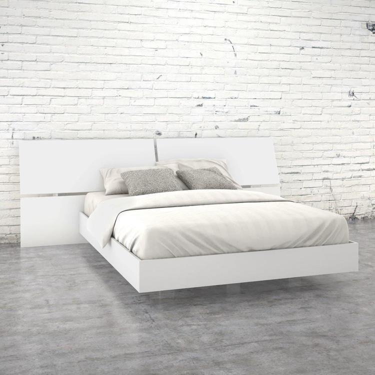 Nexera Queen Size Panoramic Bed Bundle #400652, White