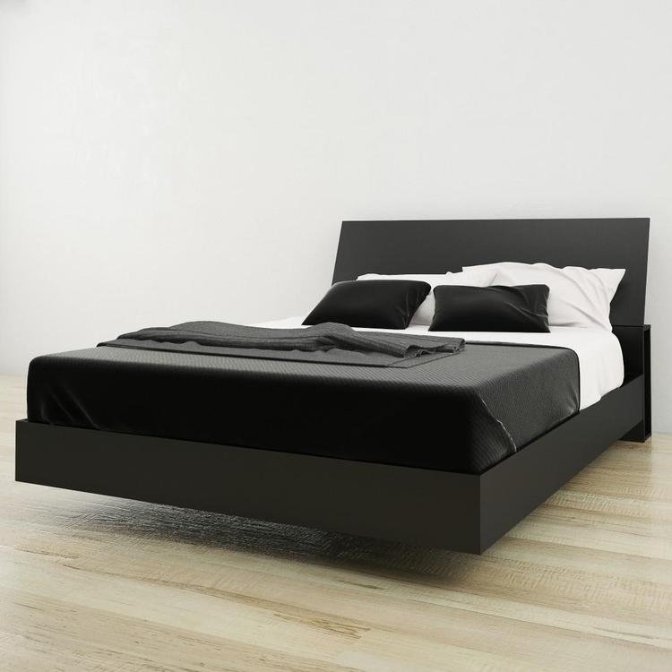 Nexera Queen Size Platform Bed Bundle #400812, Black