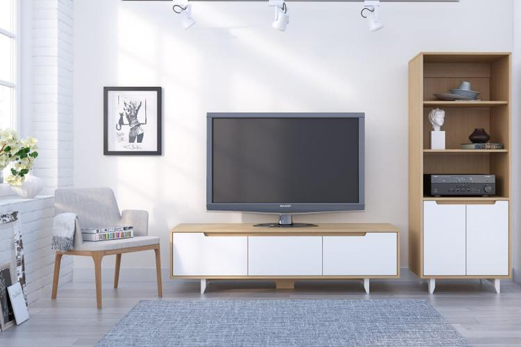 Nordik Entertainment Set #400880 from Nexera, Natural Maple and White