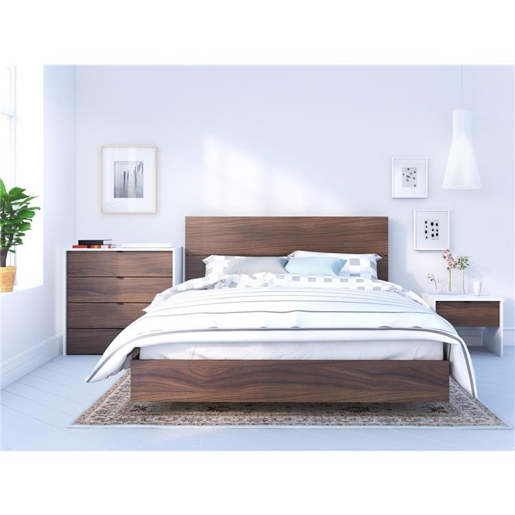 Identi-T Queen Size Bedroom Set #400890 from Nexera, White and Walnut