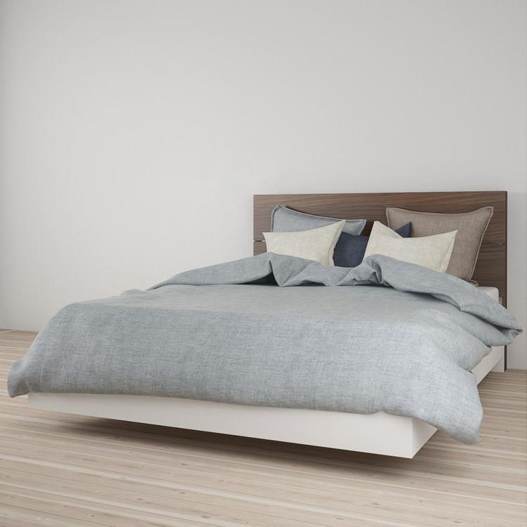 Nexera Queen Size Platform Bed Bundle #400897, White and Walnut