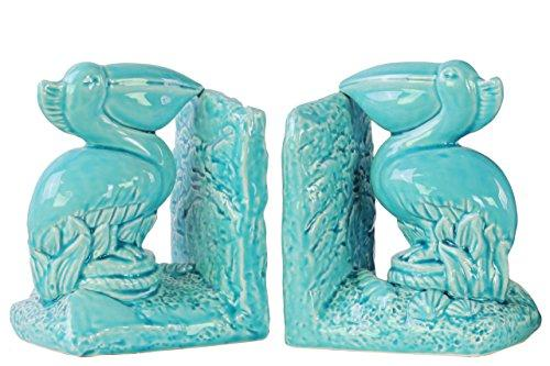 UTC40097-AST Ceramic Pelican Bird on Base Bookend Assortment of Two Gloss Finish Blue