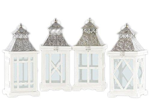 Urban Trends UTC40196-AST Wood Square Lantern with Silver Pierced Metal Top, Ring Hanger and Glass Windows Assortment of Four Painted Finish White