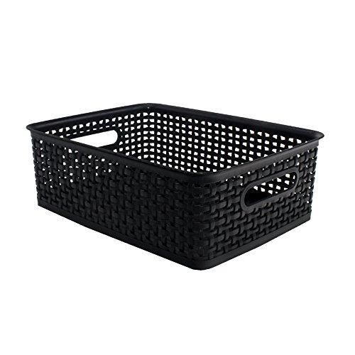 Plastic Weave Bin, Medium, Black (2-Pack)