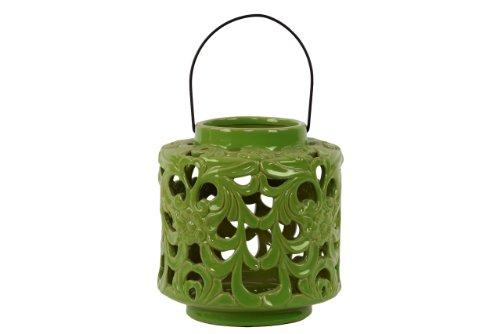 UTC40401 Ceramic Short Round Lantern with Floral Cutout Design and Metal Handle Gloss Finish Olive Green