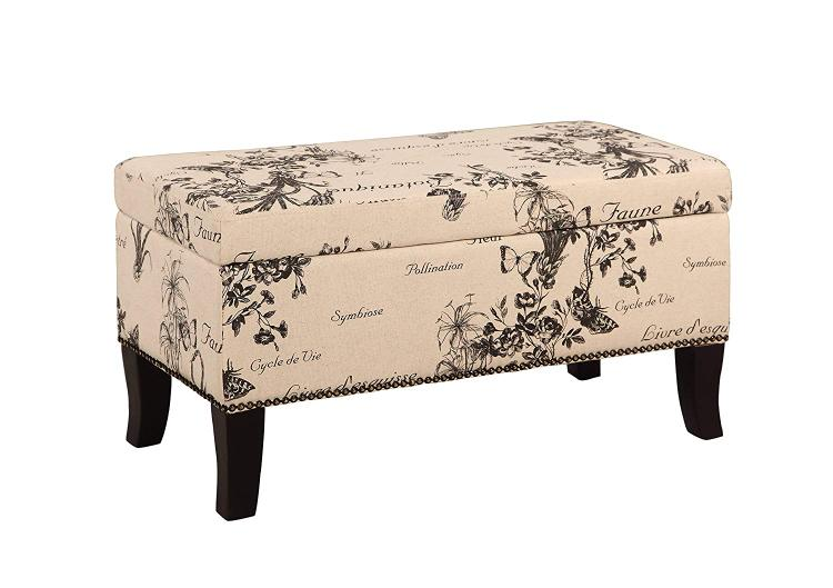 Linon Stephanie Ottoman Grey Linen with Script