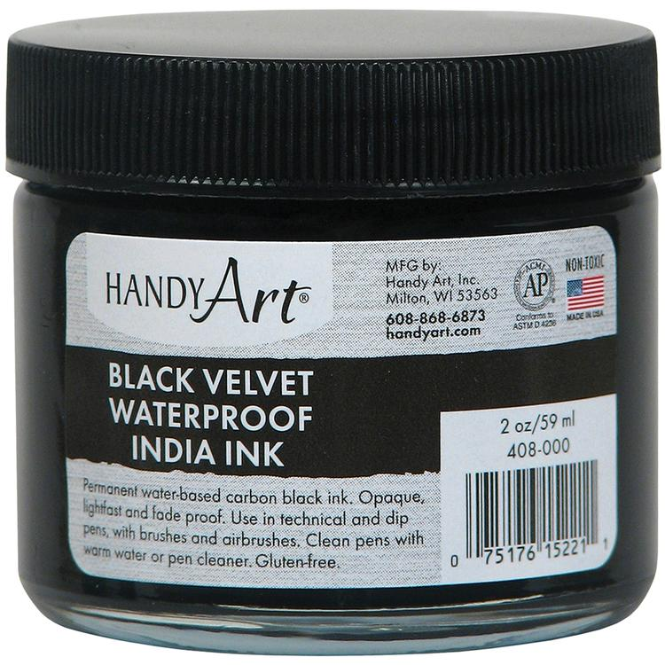 Handy Art Black Velvet India Ink 2oz Glass Jar-