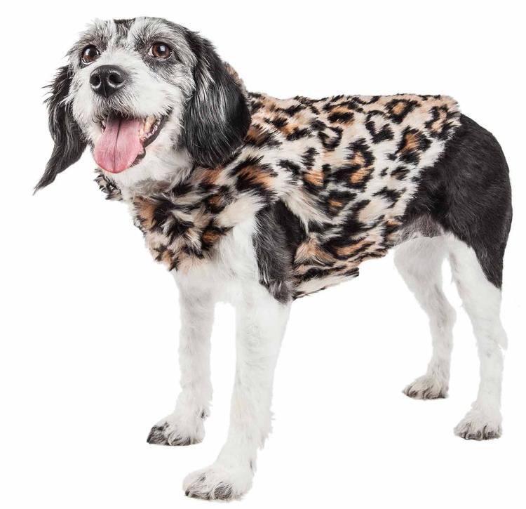 Pet Life ® Luxe 'Lab-Pard' Dazzling Leopard Patterned Mink Fur Dog Coat Jacket