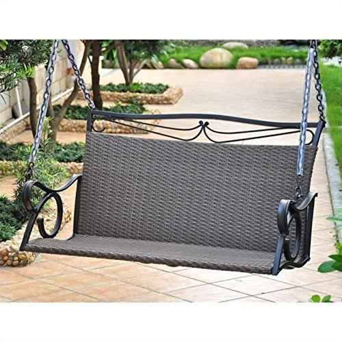 International Caravan Valencia Resin Wicker/Steel Loveseat Swing
