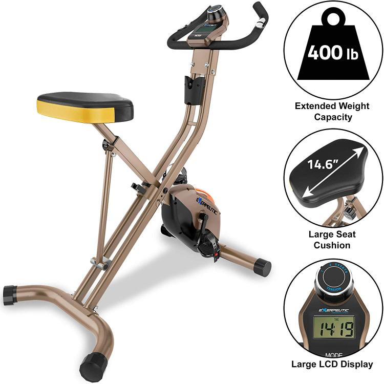 EXERPEUTIC GOLD 500 XLS 400lb Weight Capacity Foldable Magnetic Upright Bike