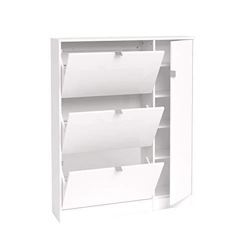 Bright Shoe Cabinet 3 Flap Doors, 1 Door