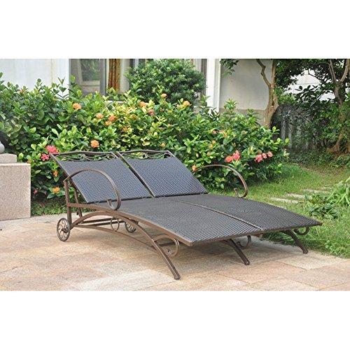 International Caravan Valencia Resin Wicker/Steel Multi Position Double Chaise Lounge