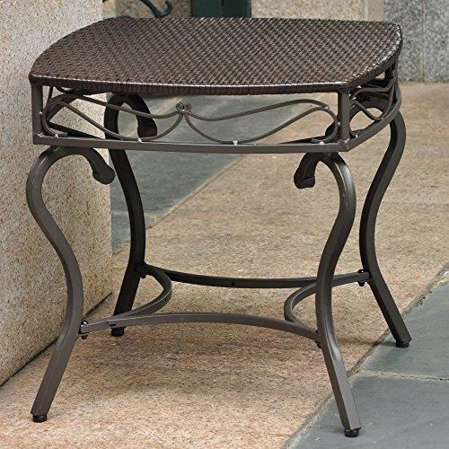 International Caravan Valencia Resin Wicker/Steel Square Round Side Table