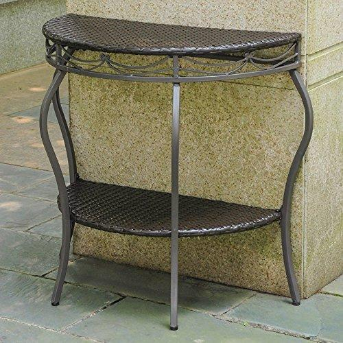 International Caravan International Caravan Valencia Resin Wicker/Steel Two Tier Half Moon Wall Table