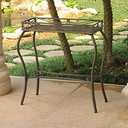 International Caravan International Caravan Valencia Resin Wicker/Steel Rectangular Plant Table