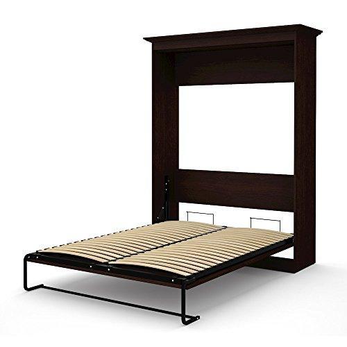 Bestar Novello Veneer Queen Wall bed in Espresso Brown