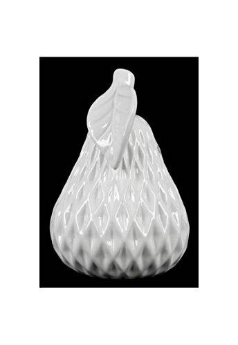 UTC41405 Ceramic Pear Figurine with Leaf on Stem and Embedded Diamond Design SM Gloss Finish White