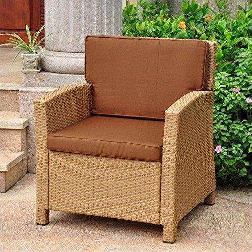 International Caravan Lisbon Resin Wicker Contemporary Deep Seat Chair With Cushion