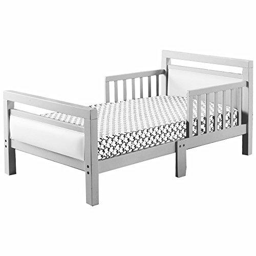The Orbelle Cambridge Gray Frame with White Padded Toddler Bed