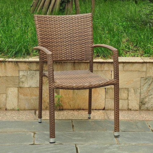 International Caravan Barcelona Resin Wicker Square Back Dining Chair [Item # 4210-SQ-1CH-ABN]