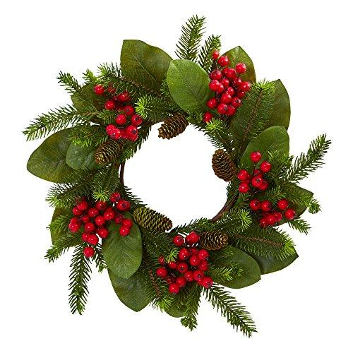 19 In. Magnolia Leaf, Berry and Pine Artificial Wreath